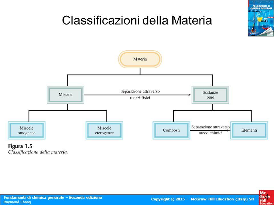 Fondamenti di chimica generale – Seconda edizione Raymond Chang Copyright © 2015 – McGraw-Hill Education (Italy) Srl 1.4 Classificazioni della Materia
