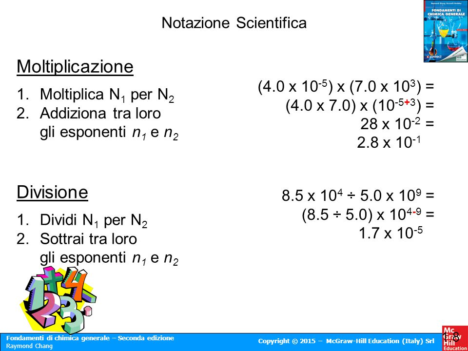 Fondamenti di chimica generale – Seconda edizione Raymond Chang Copyright © 2015 – McGraw-Hill Education (Italy) Srl Notazione Scientifica 1.8 Moltipl