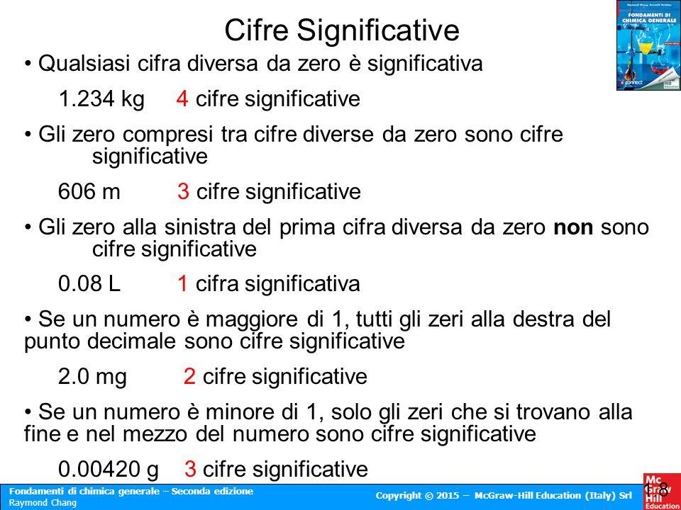 Fondamenti di chimica generale – Seconda edizione Raymond Chang Copyright © 2015 – McGraw-Hill Education (Italy) Srl Cifre Significative 1.8 Qualsiasi