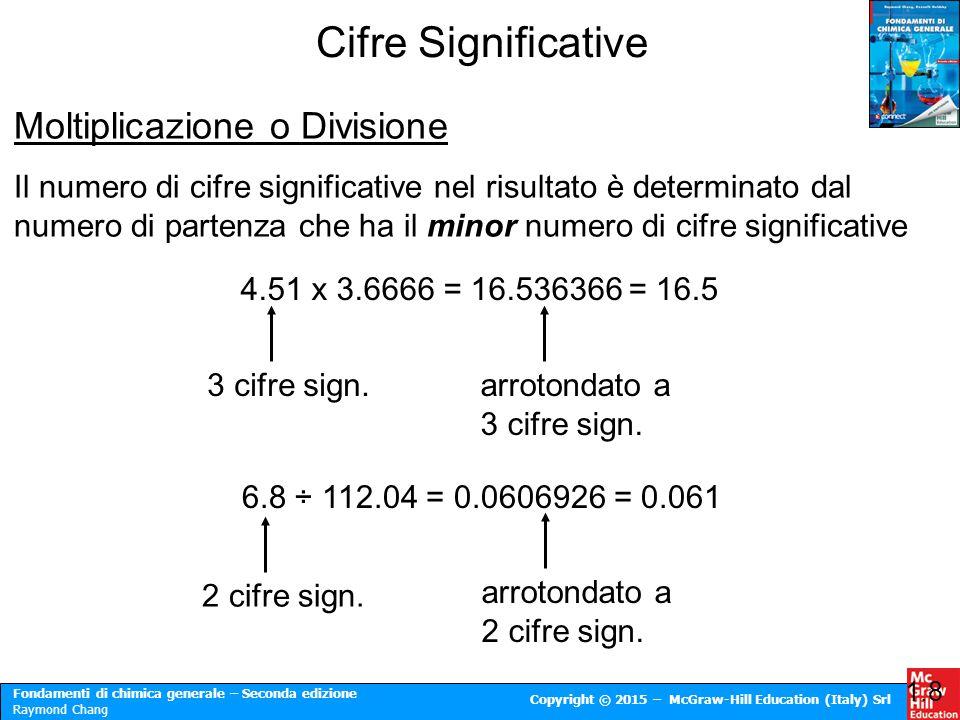 Fondamenti di chimica generale – Seconda edizione Raymond Chang Copyright © 2015 – McGraw-Hill Education (Italy) Srl Cifre Significative 1.8 Moltiplic