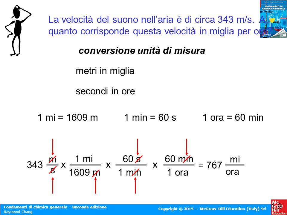 Fondamenti di chimica generale – Seconda edizione Raymond Chang Copyright © 2015 – McGraw-Hill Education (Italy) Srl La velocità del suono nell'aria è