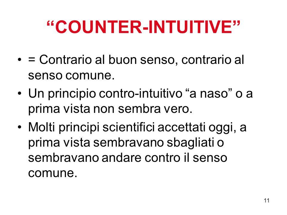 """11 """"COUNTER-INTUITIVE"""" = Contrario al buon senso, contrario al senso comune. Un principio contro-intuitivo """"a naso"""" o a prima vista non sembra vero. M"""