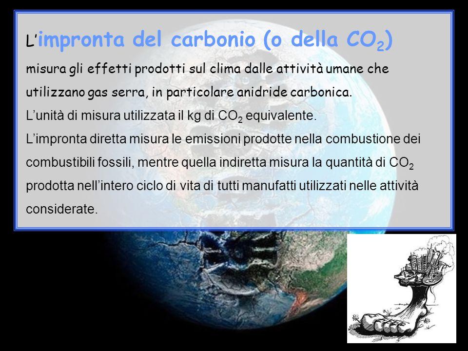 L' impronta del carbonio (o della CO 2 ) misura gli effetti prodotti sul clima dalle attività umane che utilizzano gas serra, in particolare anidride