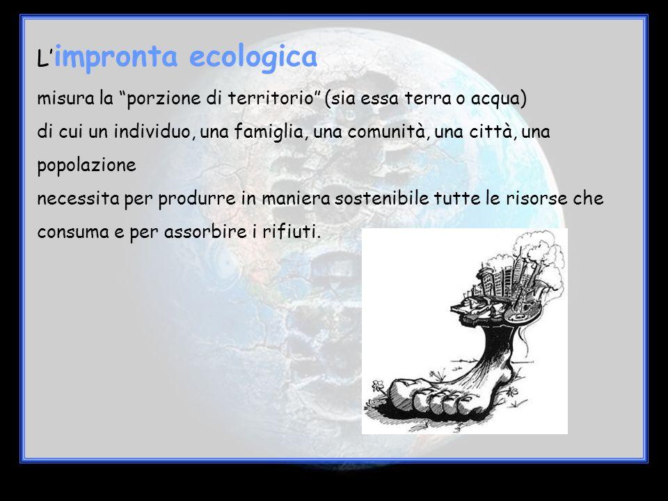 """L' impronta ecologica misura la """"porzione di territorio"""" (sia essa terra o acqua) di cui un individuo, una famiglia, una comunità, una città, una popo"""