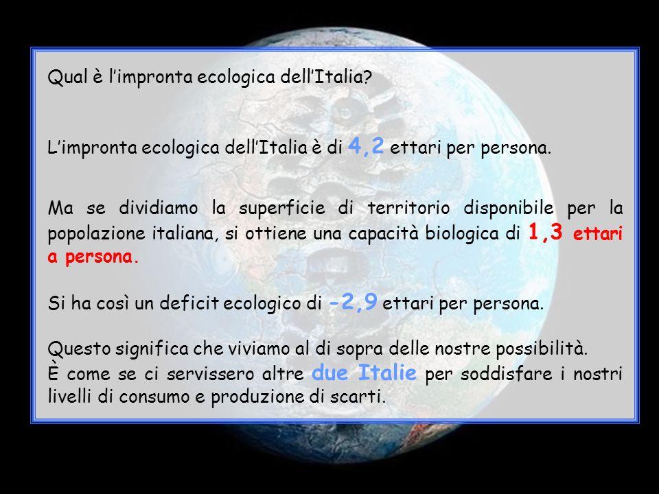 Qual è l'impronta ecologica dell'Italia? L'impronta ecologica dell'Italia è di 4,2 ettari per persona. Ma se dividiamo la superficie di territorio dis