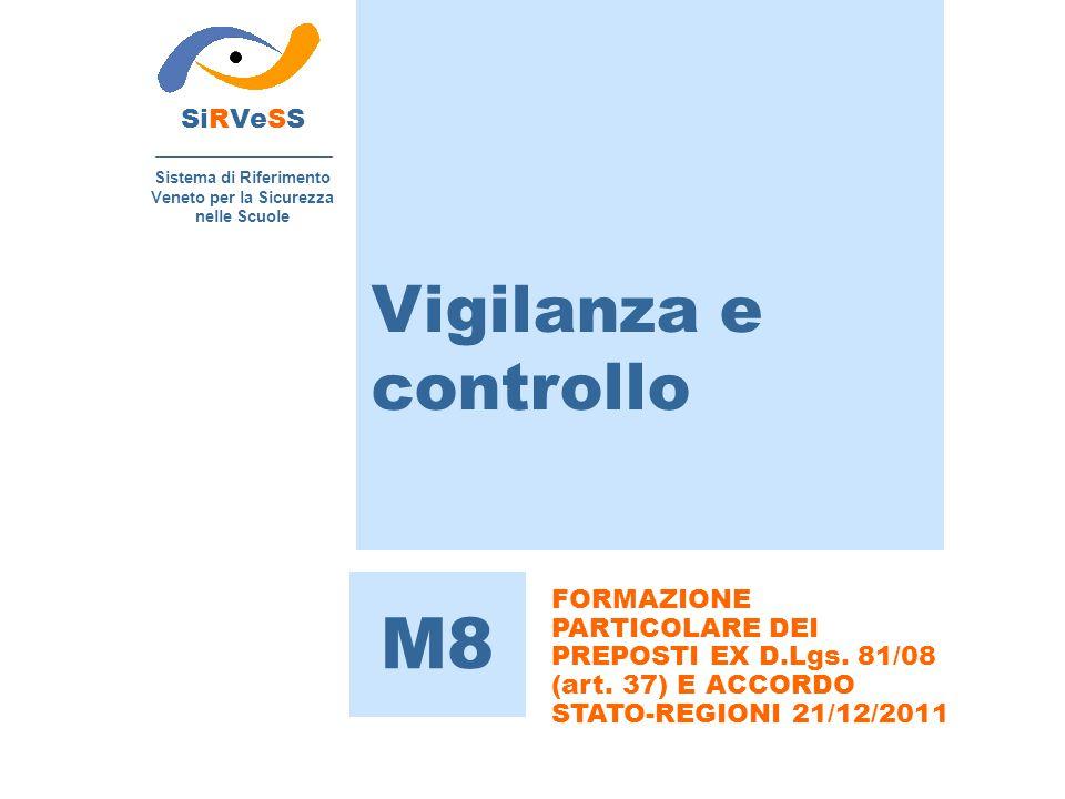 Vigilanza e controllo SiRVeSS Sistema di Riferimento Veneto per la Sicurezza nelle Scuole M8 FORMAZIONE PARTICOLARE DEI PREPOSTI EX D.Lgs. 81/08 (art.