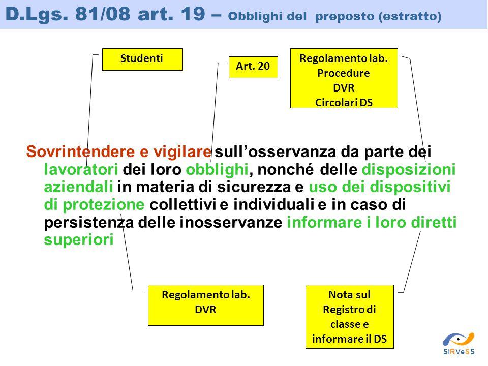 D.Lgs. 81/08 art. 19 – Obblighi del preposto (estratto) Sovrintendere e vigilare sull'osservanza da parte dei lavoratori dei loro obblighi, nonché del