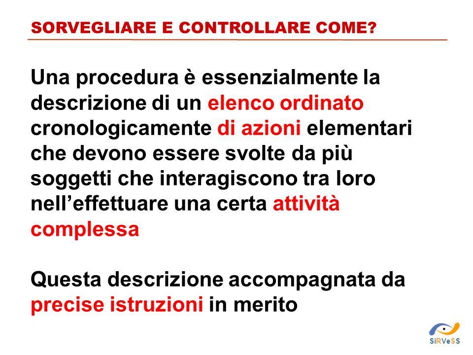 SORVEGLIARE E CONTROLLARE COME? Una procedura è essenzialmente la descrizione di un elenco ordinato cronologicamente di azioni elementari che devono e