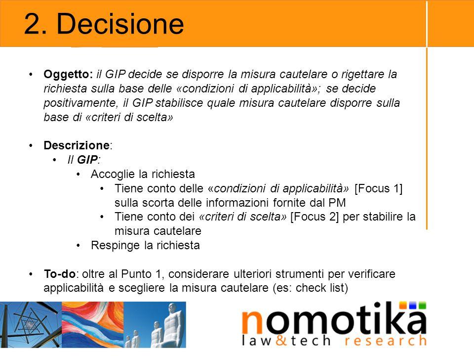 2. Decisione Oggetto: il GIP decide se disporre la misura cautelare o rigettare la richiesta sulla base delle «condizioni di applicabilità»; se decide