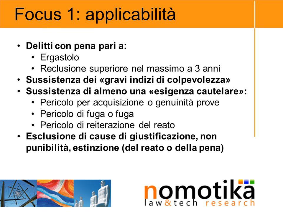 Focus 1: applicabilità Delitti con pena pari a: Ergastolo Reclusione superiore nel massimo a 3 anni Sussistenza dei «gravi indizi di colpevolezza» Sus