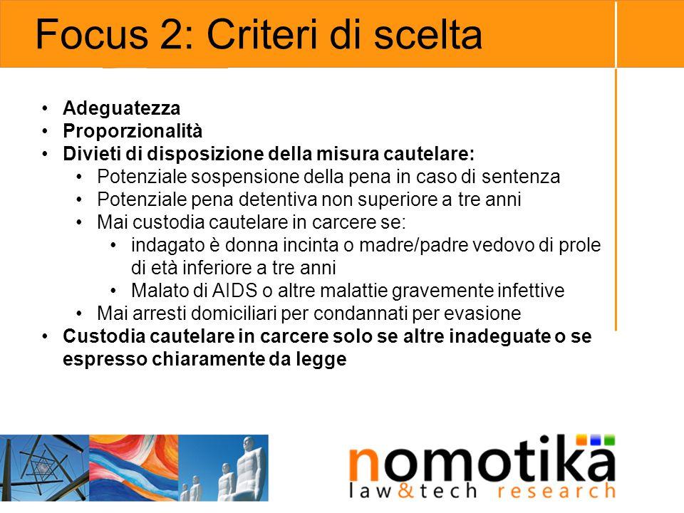 Focus 2: Criteri di scelta Adeguatezza Proporzionalità Divieti di disposizione della misura cautelare: Potenziale sospensione della pena in caso di se