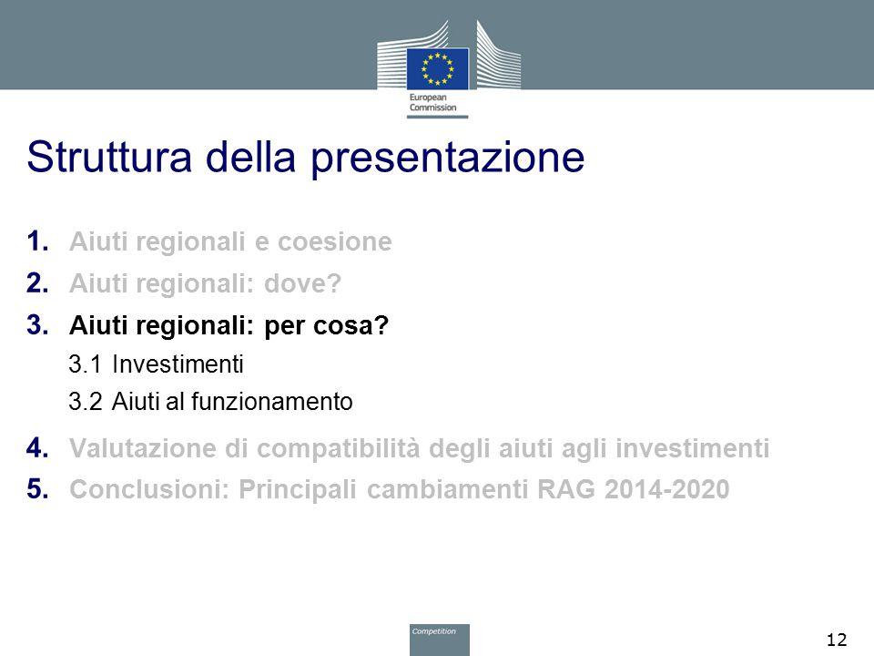 Struttura della presentazione 1. Aiuti regionali e coesione 2. Aiuti regionali: dove? 3. Aiuti regionali: per cosa? 3.1Investimenti 3.2Aiuti al funzio