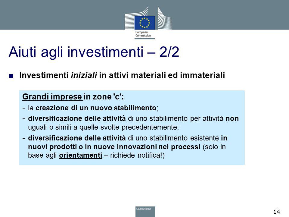 Aiuti agli investimenti – 2/2 ■ Investimenti iniziali in attivi materiali ed immateriali Grandi imprese in zone 'c': - la creazione di un nuovo stabil