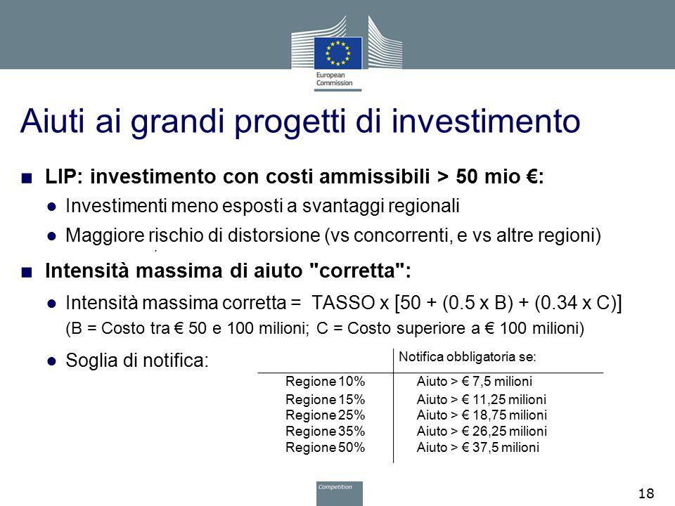 Aiuti ai grandi progetti di investimento ■ LIP: investimento con costi ammissibili > 50 mio €: ● Investimenti meno esposti a svantaggi regionali ● Mag