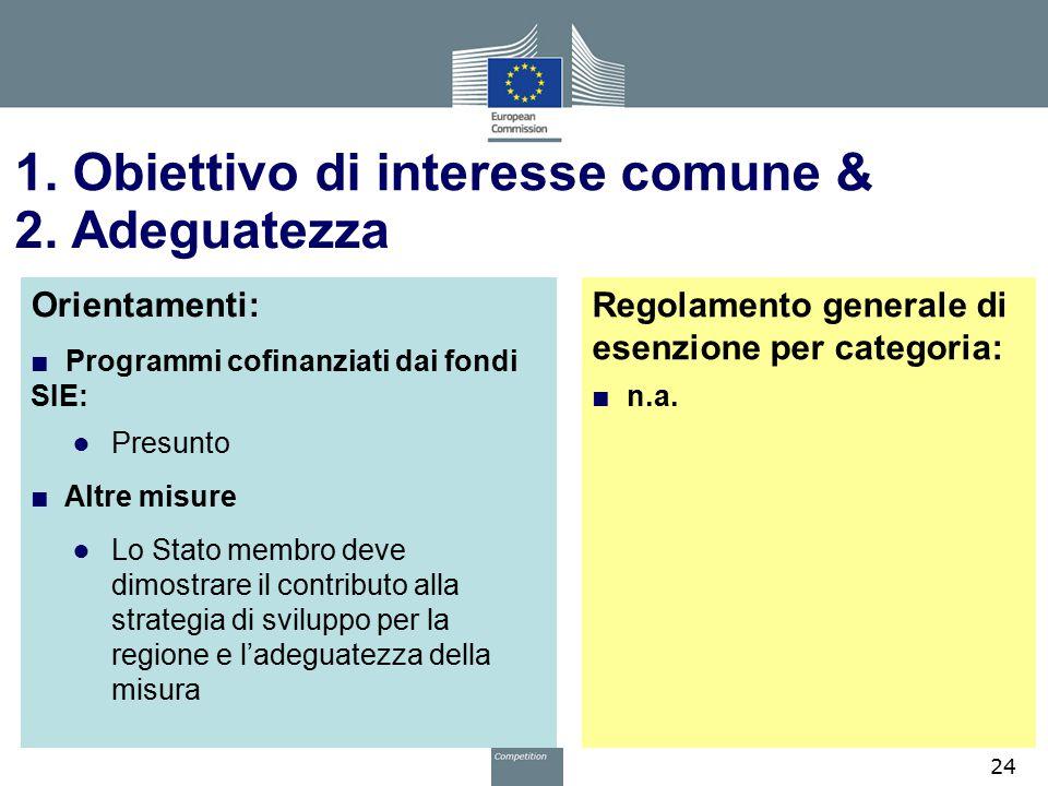 1. Obiettivo di interesse comune & Orientamenti: ■ Programmi cofinanziati dai fondi SIE: ● Presunto ■ Altre misure ● Lo Stato membro deve dimostrare i