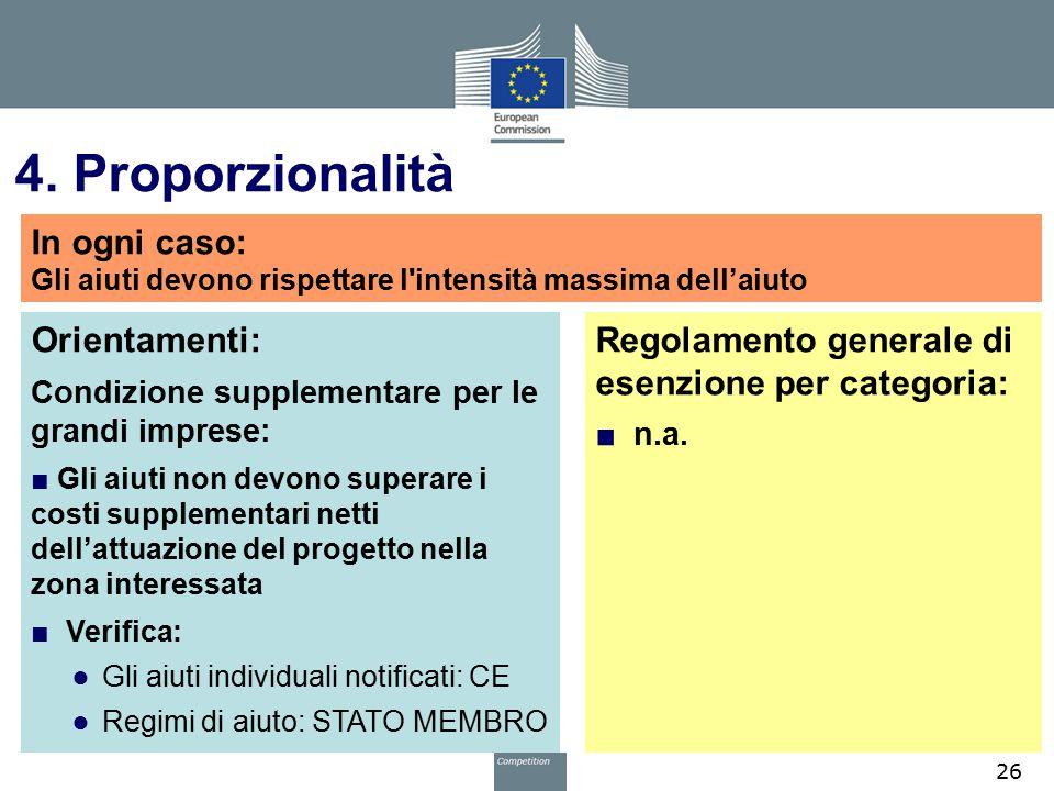 4. Proporzionalità Orientamenti: Condizione supplementare per le grandi imprese: ■ Gli aiuti non devono superare i costi supplementari netti dell'attu