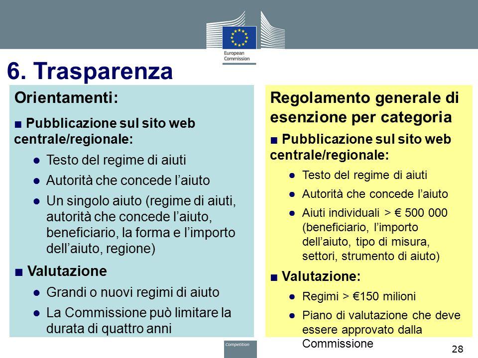 6. Trasparenza Orientamenti: ■ Pubblicazione sul sito web centrale/regionale: ● Testo del regime di aiuti ● Autorità che concede l'aiuto ● Un singolo