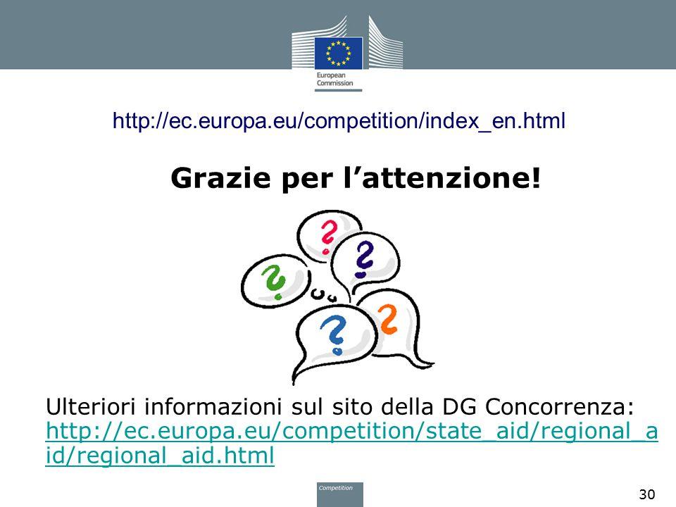 http://ec.europa.eu/competition/index_en.html Grazie per l'attenzione! Ulteriori informazioni sul sito della DG Concorrenza: http://ec.europa.eu/compe