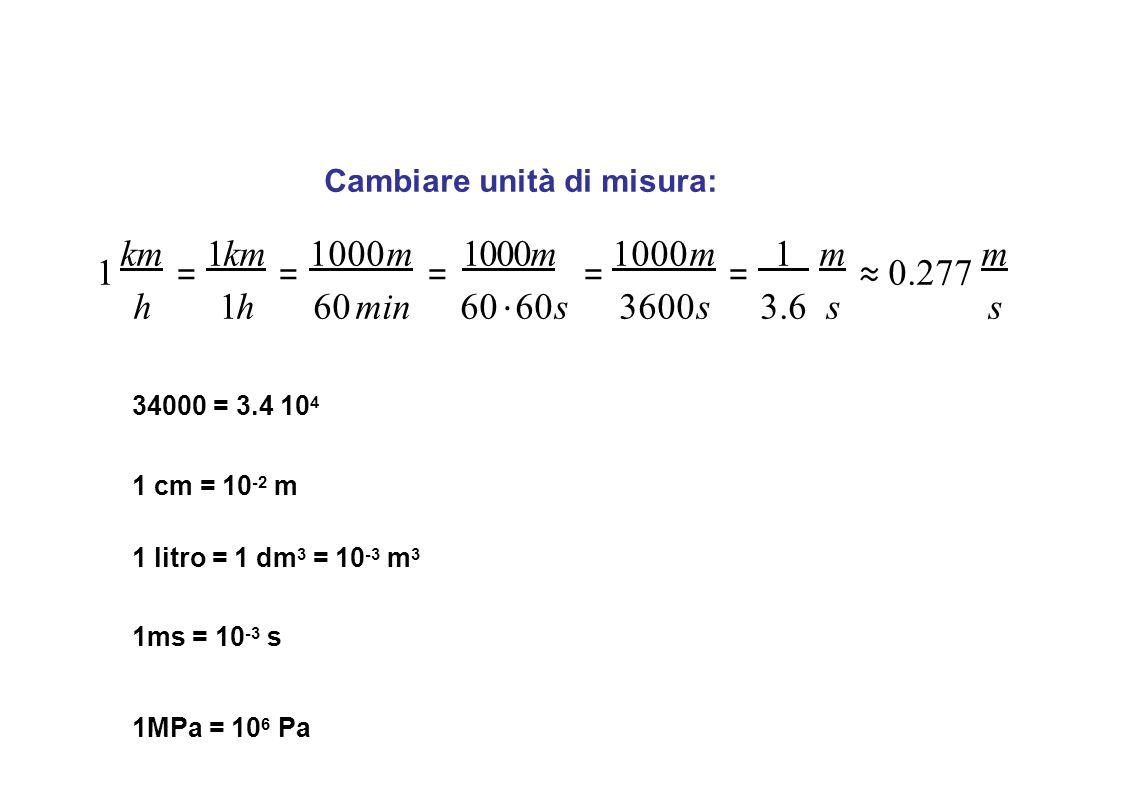 Cambiare unità di misura: 1 km = 1km = 1000m = 1000m = 1000m = 1 m ≈ 0.277 m h1h60 min60 ⋅ 60s3600s3.6ss 34000 = 3.4 10 4 1 cm = 10 -2 m 1 litro = 1 d