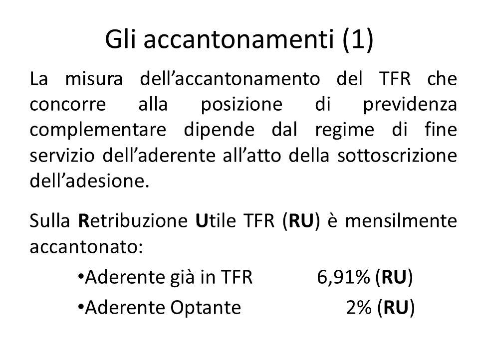 Gli accantonamenti (1) La misura dell'accantonamento del TFR che concorre alla posizione di previdenza complementare dipende dal regime di fine servizio dell'aderente all'atto della sottoscrizione dell'adesione.