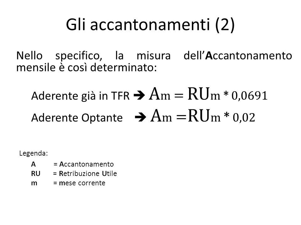 Gli accantonamenti (2) Nello specifico, la misura dell'Accantonamento mensile è così determinato: Aderente già in TFR  A m = RU m * 0,0691 Aderente Optante  A m = RU m * 0,02 Legenda: A = Accantonamento RU = Retribuzione Utile m = mese corrente
