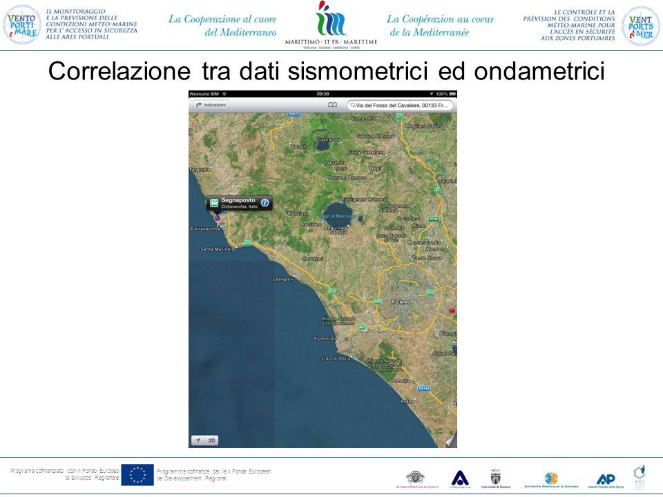 Programa cofinanziato con il Fondo Europeo di Sviluppo Regionale Programme cofinancé par le il Fonds Européen de Devéloppement Régional Correlazione tra dati sismometrici ed ondametrici