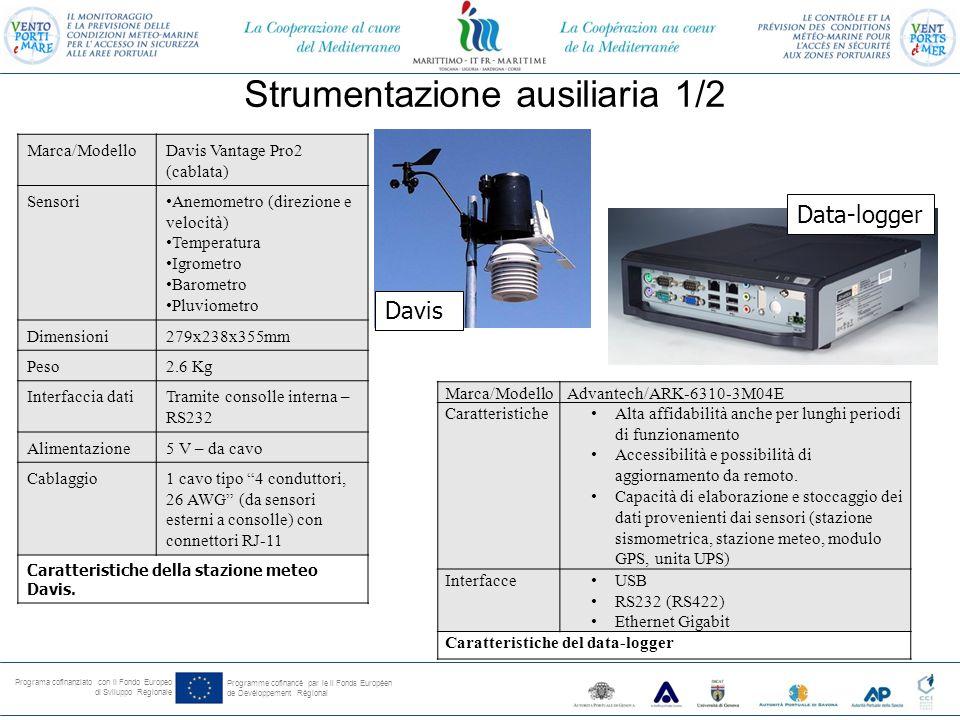 Programa cofinanziato con il Fondo Europeo di Sviluppo Regionale Programme cofinancé par le il Fonds Européen de Devéloppement Régional Strumentazione ausiliaria 1/2 Marca/ModelloDavis Vantage Pro2 (cablata) SensoriAnemometro (direzione e velocità) Temperatura Igrometro Barometro Pluviometro Dimensioni279x238x355mm Peso2.6 Kg Interfaccia datiTramite consolle interna – RS232 Alimentazione5 V – da cavo Cablaggio1 cavo tipo 4 conduttori, 26 AWG (da sensori esterni a consolle) con connettori RJ-11 Caratteristiche della stazione meteo Davis.