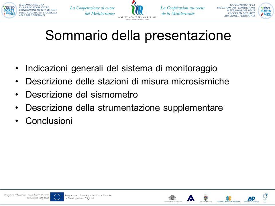 Programa cofinanziato con il Fondo Europeo di Sviluppo Regionale Programme cofinancé par le il Fonds Européen de Devéloppement Régional Sommario della presentazione Indicazioni generali del sistema di monitoraggio Descrizione delle stazioni di misura microsismiche Descrizione del sismometro Descrizione della strumentazione supplementare Conclusioni