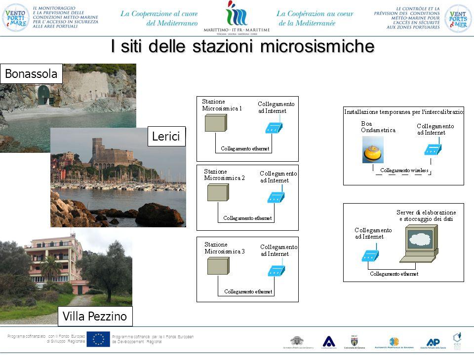 Programa cofinanziato con il Fondo Europeo di Sviluppo Regionale Programme cofinancé par le il Fonds Européen de Devéloppement Régional I siti delle stazioni microsismiche Bonassola Lerici Villa Pezzino