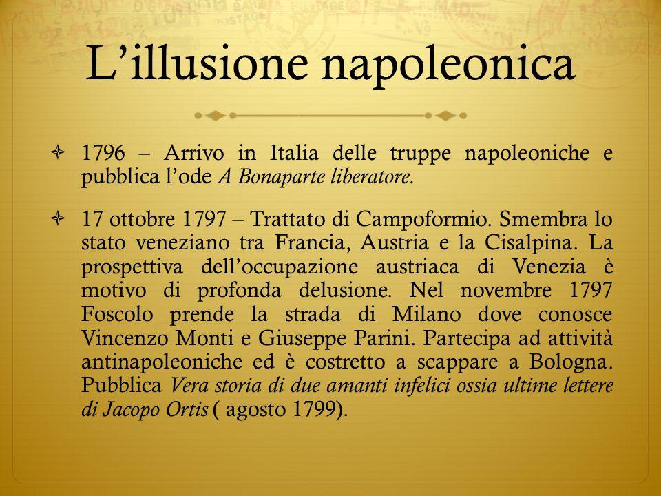 L'illusione napoleonica  1796 – Arrivo in Italia delle truppe napoleoniche e pubblica l'ode A Bonaparte liberatore.  17 ottobre 1797 – Trattato di C