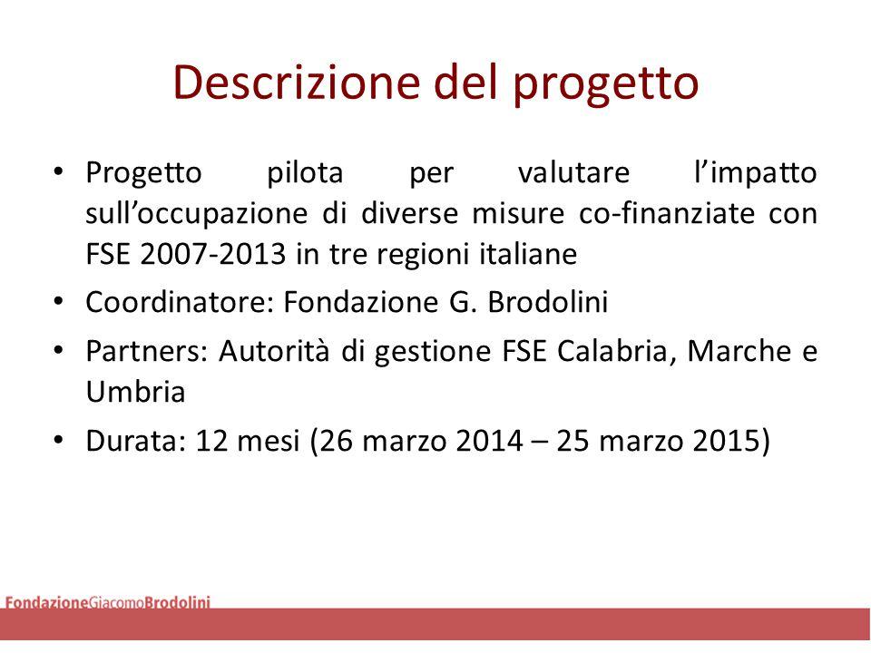 Descrizione del progetto Progetto pilota per valutare l'impatto sull'occupazione di diverse misure co-finanziate con FSE 2007-2013 in tre regioni italiane Coordinatore: Fondazione G.