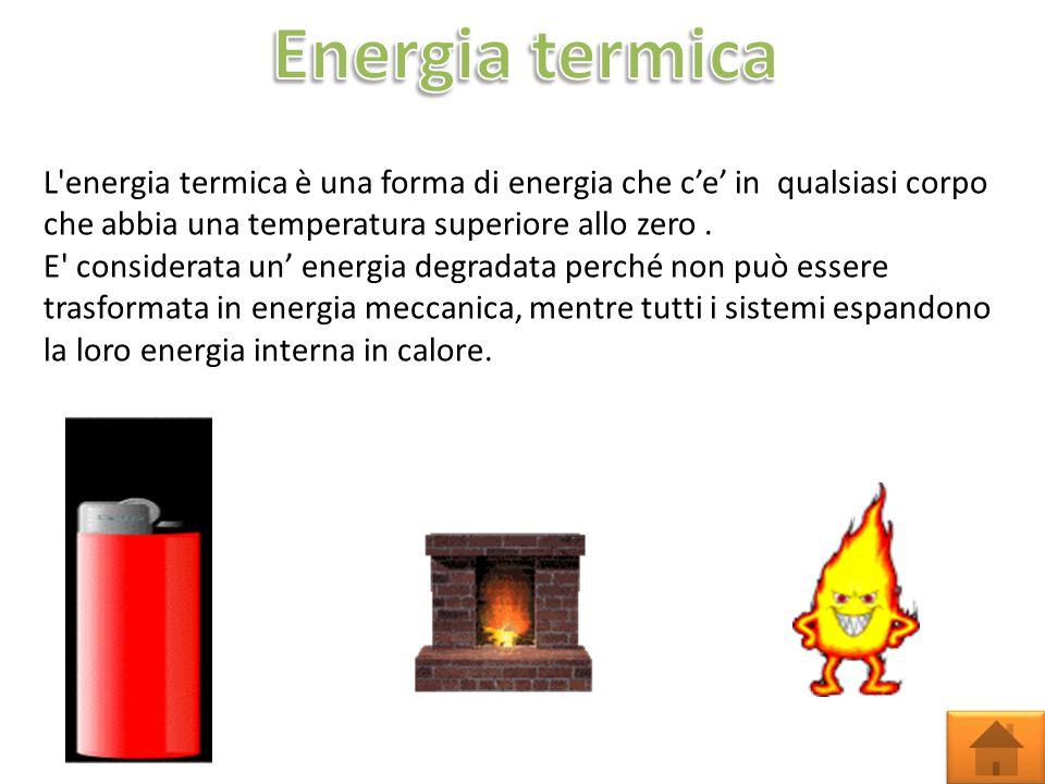 L energia termica è una forma di energia che c'e' in qualsiasi corpo che abbia una temperatura superiore allo zero.