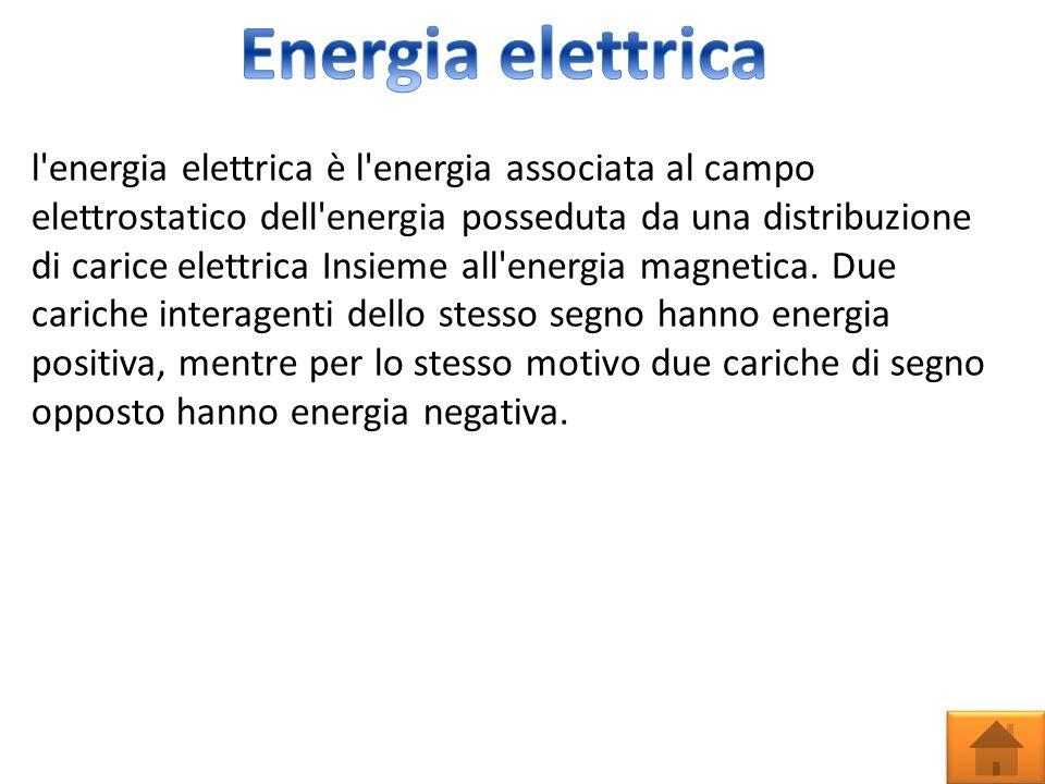 l energia elettrica è l energia associata al campo elettrostatico dell energia posseduta da una distribuzione di carice elettrica Insieme all energia magnetica.