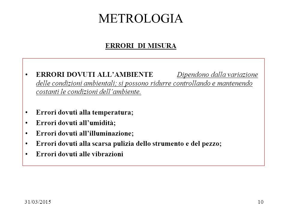 31/03/201510 METROLOGIA ERRORI DI MISURA ERRORI DOVUTI ALL'AMBIENTE Dipendono dalla variazione delle condizioni ambientali; si possono ridurre control