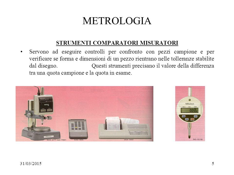 31/03/20156 METROLOGIA CARATTERISTICHE DEGLI STRUMENTI PRECISIONE E' la massima differenza tra il valore della misura fornita dallo strumento e il valore reale della grandezza misurata.