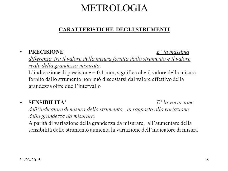 31/03/20156 METROLOGIA CARATTERISTICHE DEGLI STRUMENTI PRECISIONE E' la massima differenza tra il valore della misura fornita dallo strumento e il val