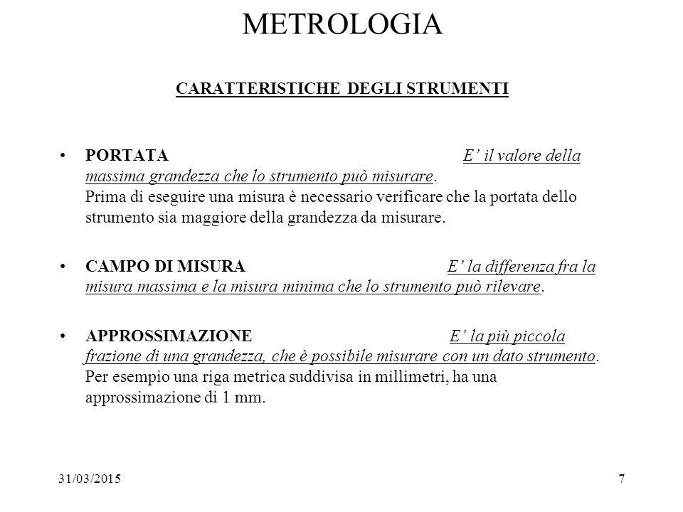 31/03/20157 METROLOGIA CARATTERISTICHE DEGLI STRUMENTI PORTATA E' il valore della massima grandezza che lo strumento può misurare. Prima di eseguire u