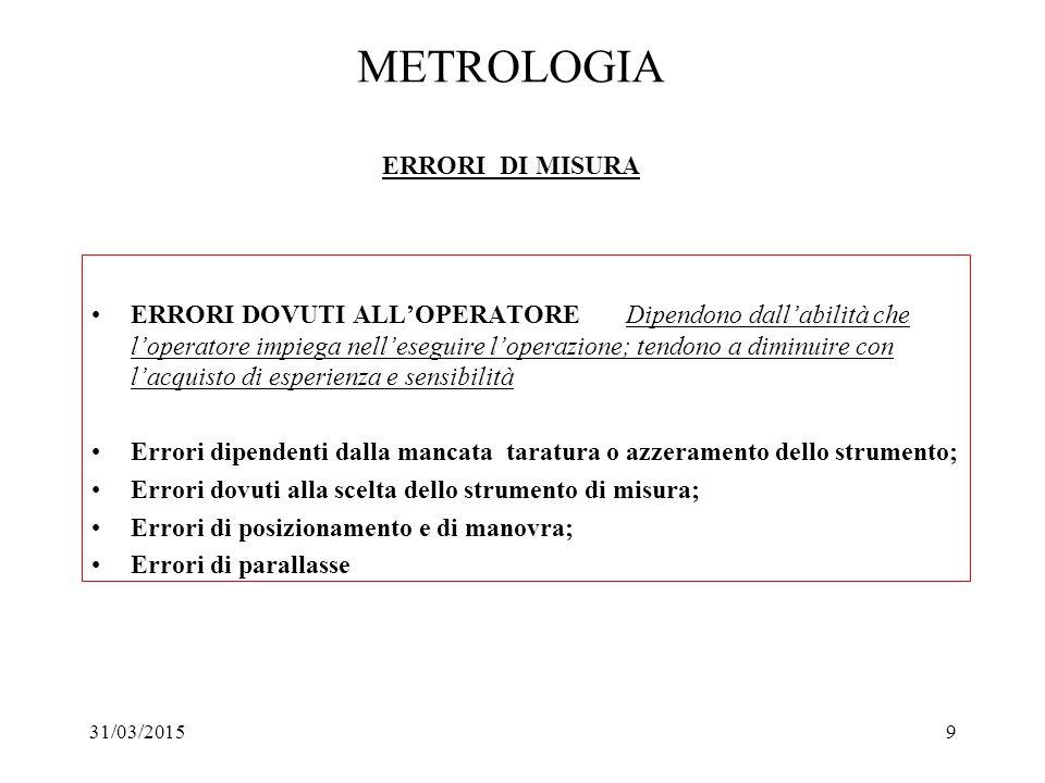 31/03/20159 METROLOGIA ERRORI DI MISURA ERRORI DOVUTI ALL'OPERATORE Dipendono dall'abilità che l'operatore impiega nell'eseguire l'operazione; tendono