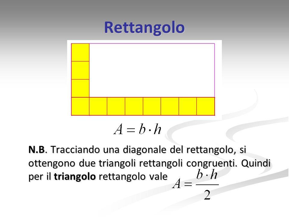 Rettangolo N.B. Tracciando una diagonale del rettangolo, si ottengono due triangoli rettangoli congruenti. Quindi per il triangolo rettangolo vale