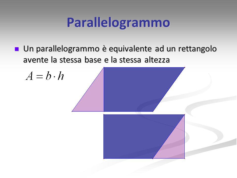 Parallelogrammo Un parallelogrammo è equivalente ad un rettangolo avente la stessa base e la stessa altezza Un parallelogrammo è equivalente ad un ret