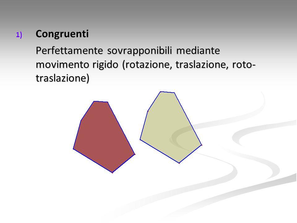 1) Congruenti Perfettamente sovrapponibili mediante movimento rigido (rotazione, traslazione, roto- traslazione)