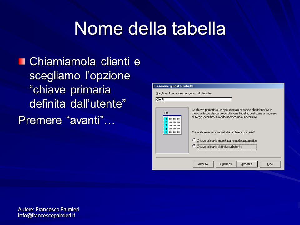 """Autore: Francesco Palmieri info@francescopalmieri.it Nome della tabella Chiamiamola clienti e scegliamo l'opzione """"chiave primaria definita dall'utent"""