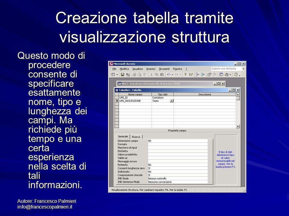 Autore: Francesco Palmieri info@francescopalmieri.it Creazione tabella tramite visualizzazione struttura Questo modo di procedere consente di specific