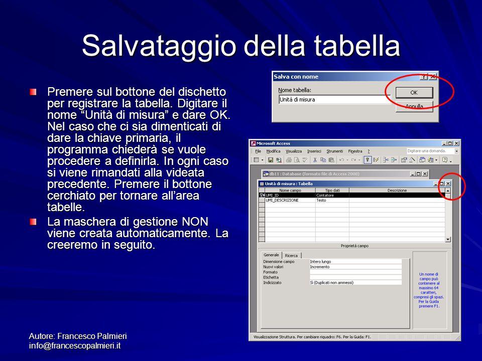 Autore: Francesco Palmieri info@francescopalmieri.it Salvataggio della tabella Premere sul bottone del dischetto per registrare la tabella. Digitare i