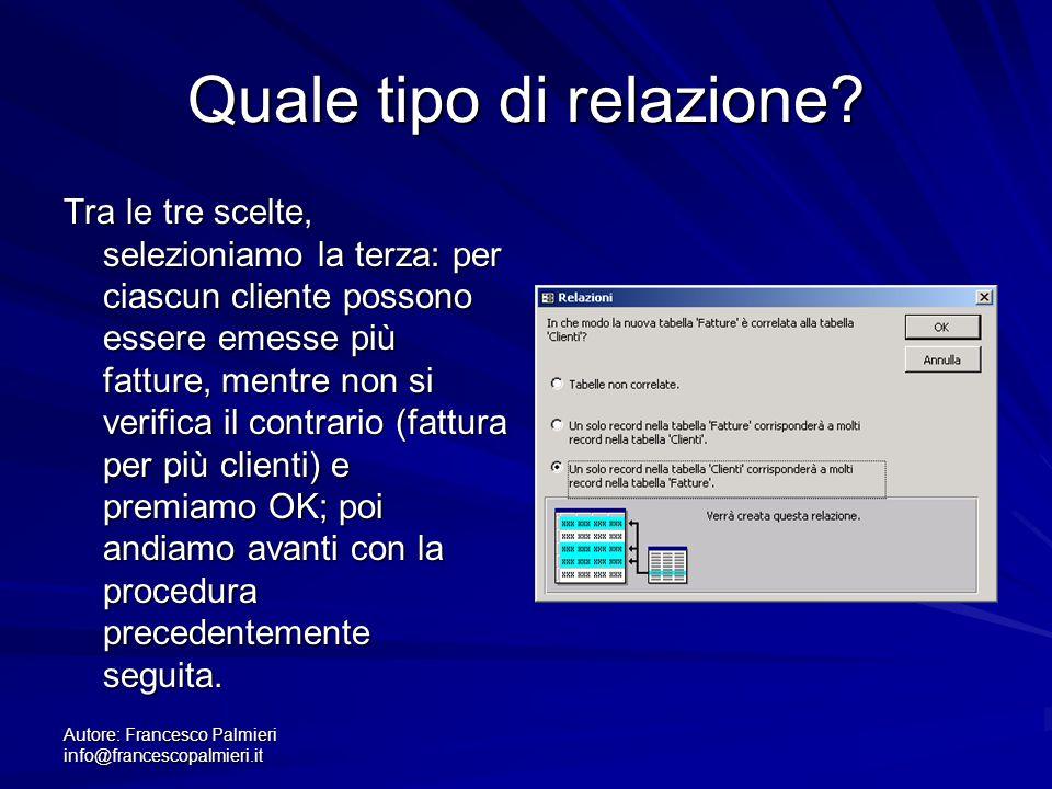 Autore: Francesco Palmieri info@francescopalmieri.it Quale tipo di relazione? Tra le tre scelte, selezioniamo la terza: per ciascun cliente possono es