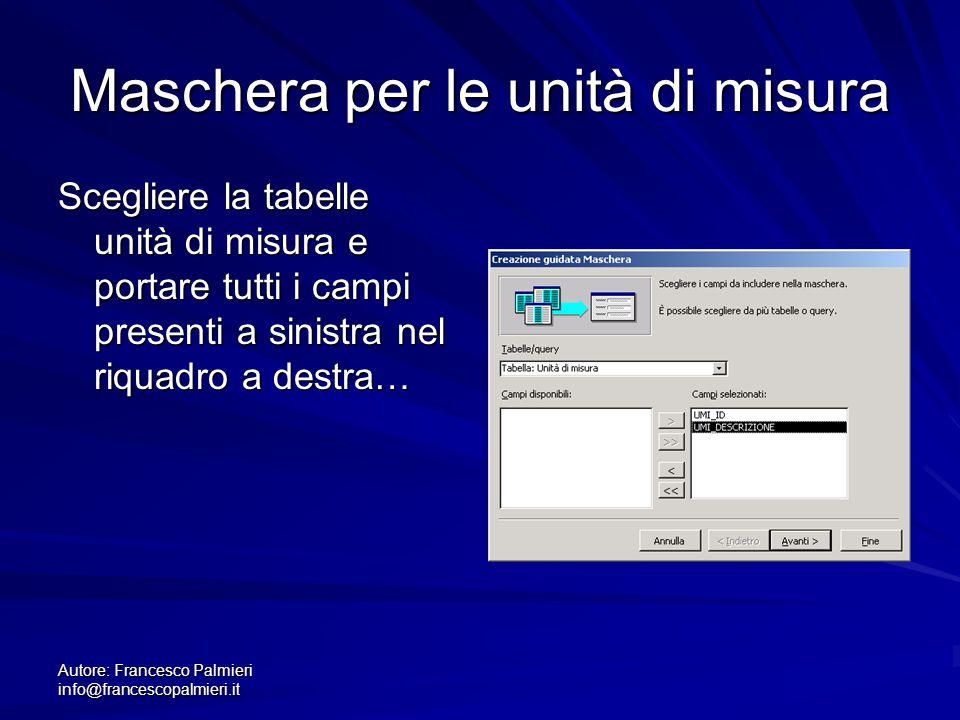 Autore: Francesco Palmieri info@francescopalmieri.it Maschera per le unità di misura Scegliere la tabelle unità di misura e portare tutti i campi pres
