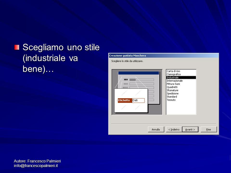 Autore: Francesco Palmieri info@francescopalmieri.it Scegliamo uno stile (industriale va bene)…