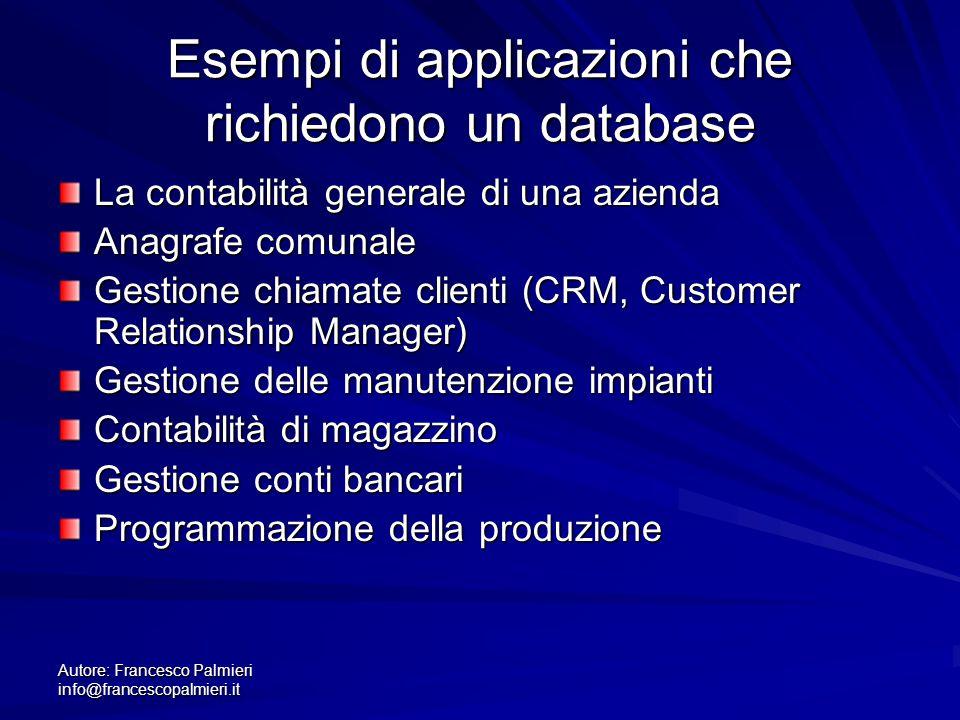 Autore: Francesco Palmieri info@francescopalmieri.it Esempi di applicazioni che richiedono un database La contabilità generale di una azienda Anagrafe