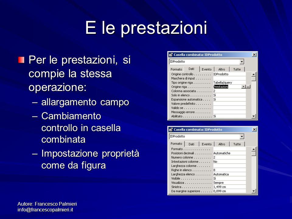 Autore: Francesco Palmieri info@francescopalmieri.it E le prestazioni Per le prestazioni, si compie la stessa operazione: –allargamento campo –Cambiam