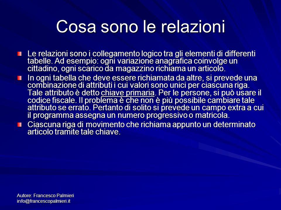 Autore: Francesco Palmieri info@francescopalmieri.it Cosa sono le relazioni Le relazioni sono i collegamento logico tra gli elementi di differenti tab